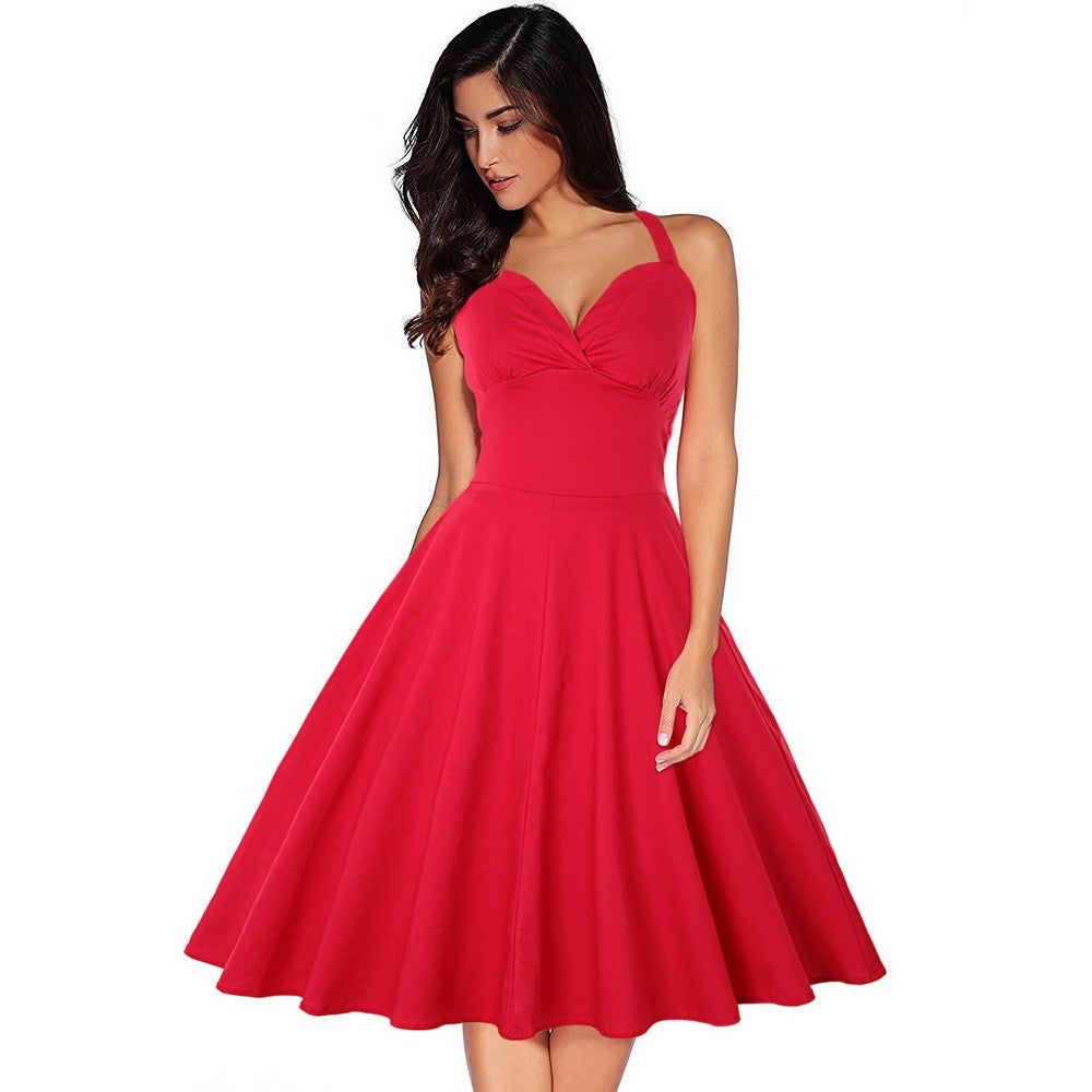 Womens Voluminous Dress Solid Halter-style Backless Dress