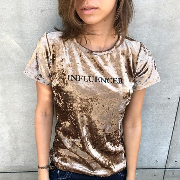 Women T-shirts velvet suit popular lady's Slim Summer letter Print Casual Slim Women Tops T-Shirts fashion flannel