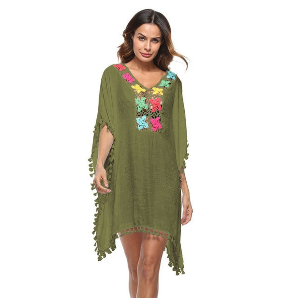 Summer Beach Cover-ups Blouses Women Swimsuit Cover Up Crochet Lace Hollow Out Boho Loose Beach Bikini Outwear Tops female tunic