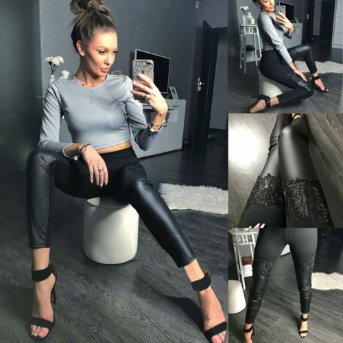 Women Bright Leather High Waist  Wet Look Shiny Stretchy Tight Pants UK