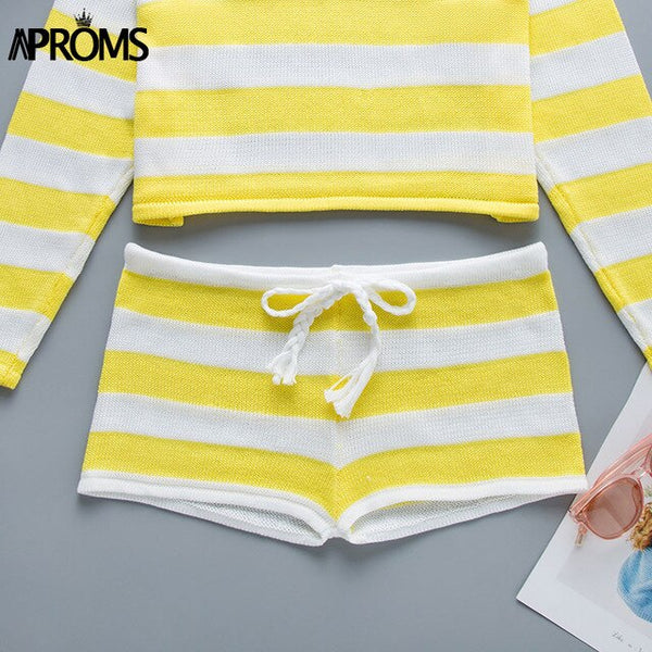 Aproms Elegant Candy Striped Knitted High Waist Shorts Women Summer 2019 Cool Girls Beach Elastic Bikini Shorts Female Bottoms