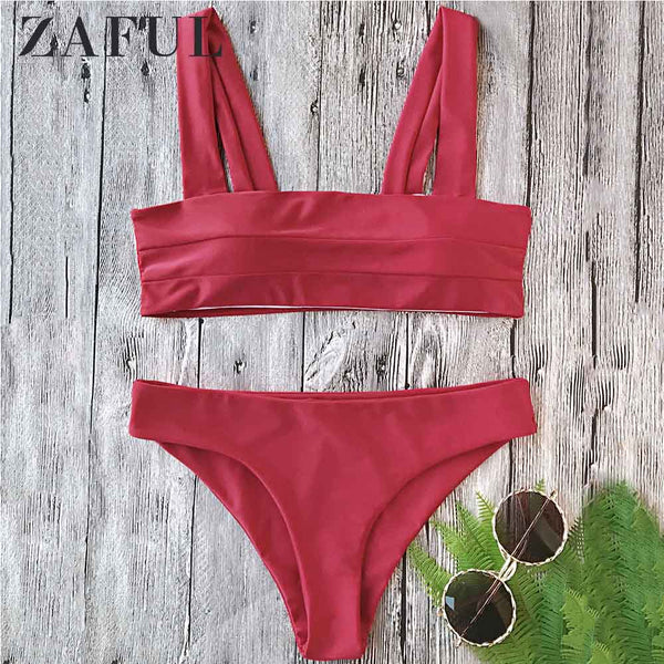 ZAFUL Two Piece Set Summer Beach Women Clothing Solid Color Square Neck Crop Top High Cut Shorts Sets 2019 Lady Bathing Suit