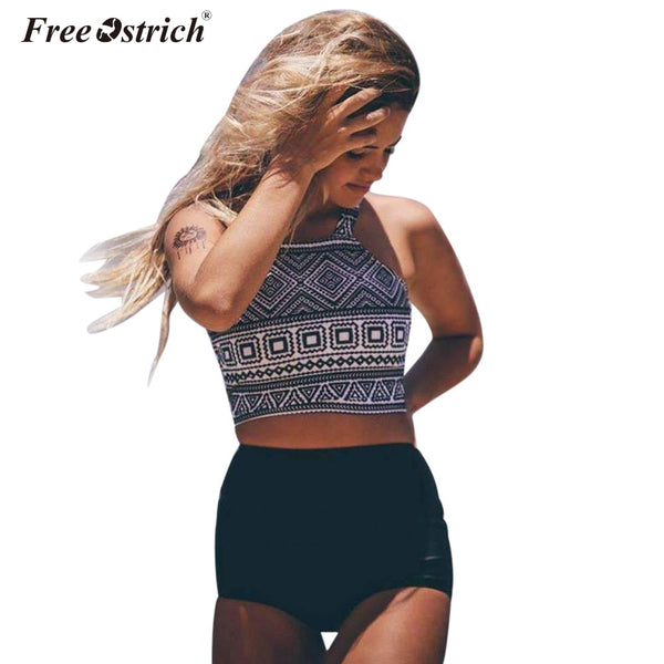 Free Ostrich Two Pieces Women Set Sexy Bra Crop Top with High Cut Tie Elastic Waist Shorts Suit Outfits Beachwear Women Sets N30