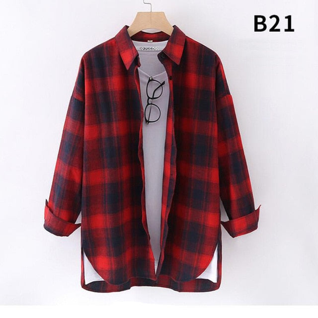 Women Plaid Shirts Japanese style loose Spring Long Sleeve  Blouses Flannel Plaid Shirt Casual Female Plus Size Blouse Tops Shir