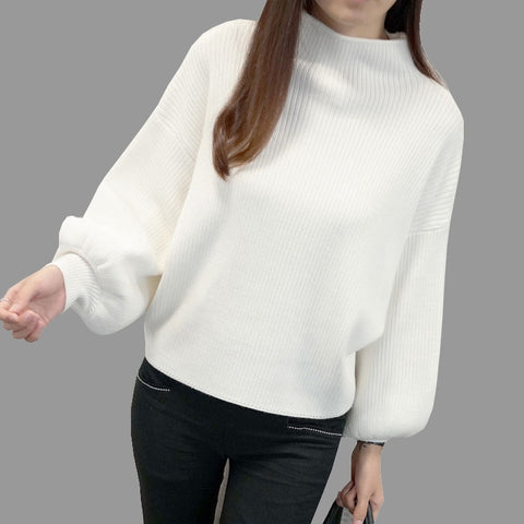 2019 New Winter Women Sweaters Fashion Turtleneck Batwing Sleeve Pullovers Loose Knitted Sweaters Female Jumper Tops