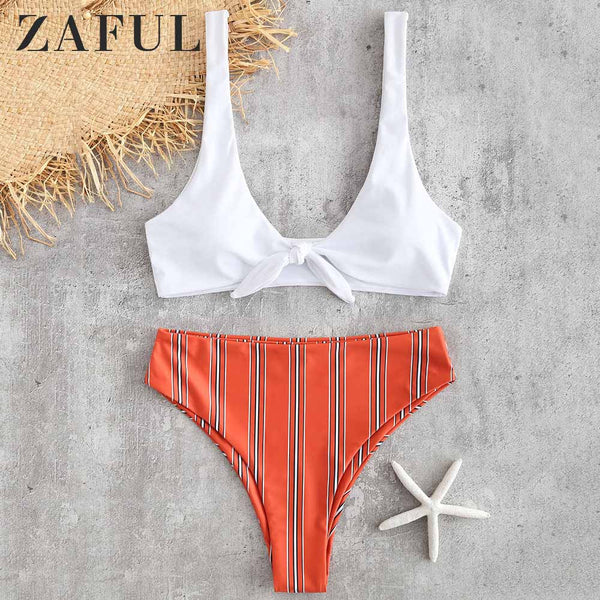 ZAFUL Striped Knotted Bikini Set High Waisted Plunging Neck Wire Free Padded Swim Suit Holiday Pullover Sexy Women Bathing Suit
