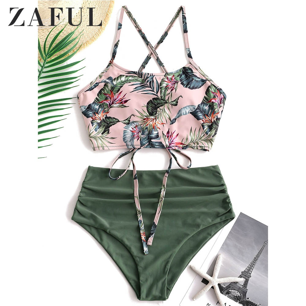 ZAFUL Bikini 2019 Lace Up Tropical Leaf Tummy Control Tankini Set Swimwear High Waisted Swim Suit Ruched Padded Bathing Suit