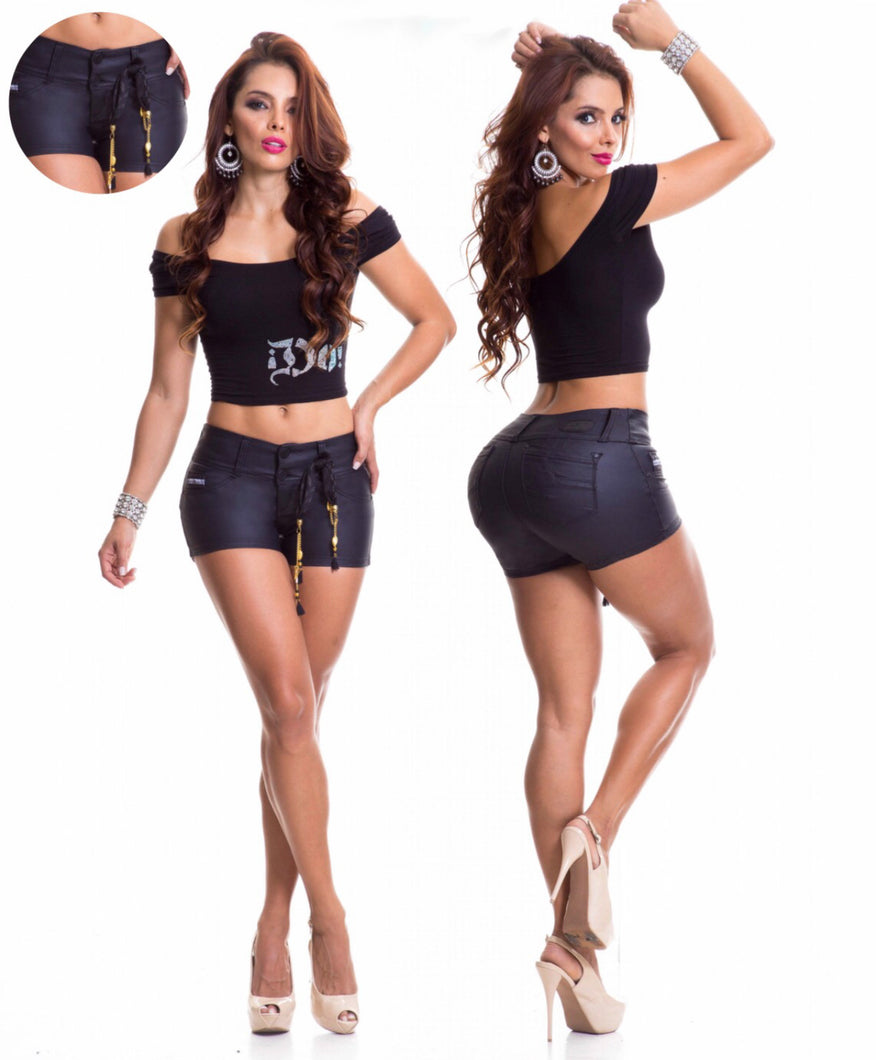 Woman's Black Leather Look Shorts