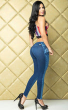 Ripped Jeans - Two Tone Blue Butt Lift Jeans