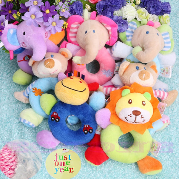 Baby Animal Wrist Hand Bell Rattle Soft Plush Stuffed Educational Toys
