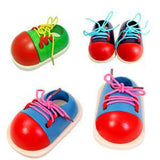 Toddler Lacing Shoes Early Education Wooden Montessori Teaching Aids
