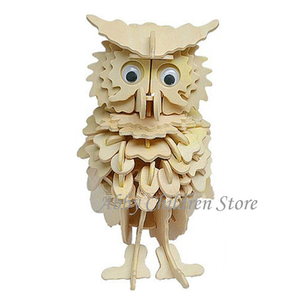 DIY - Owl 3D Puzzles Woodcraft Handmade Toy Learning Educationa Toys For Children Kids Adult