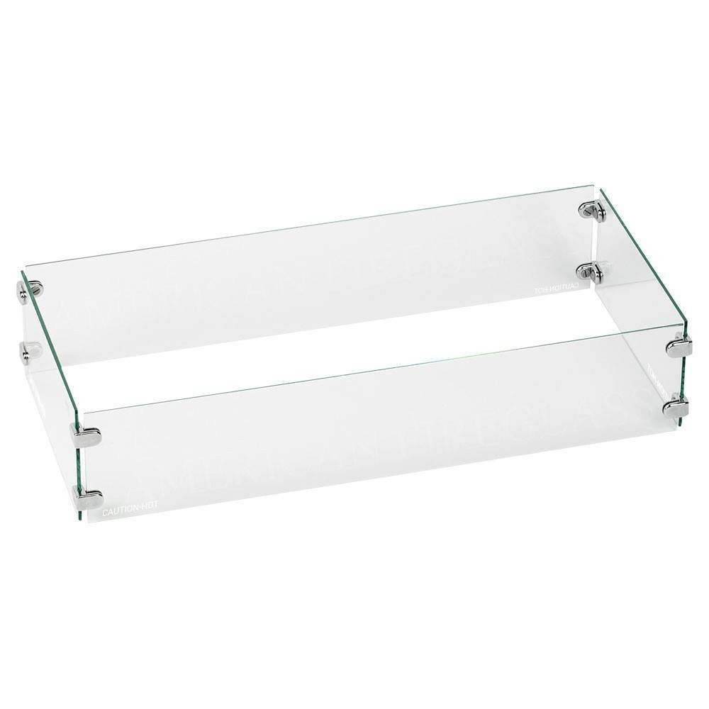 Buy American Fire Glass Rectangular Glass Flame Guard For Drop-In Burner Pan| FREE Shipping