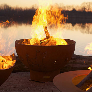 Crater Wood & Gas Burning Fire Pit - Home Fire Designs