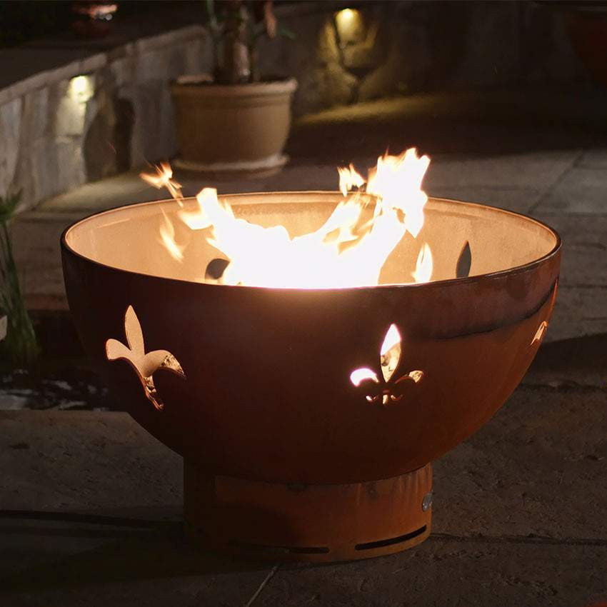 Fleur-De-Lis Wood & Gas Fire Pit - Home Fire Designs