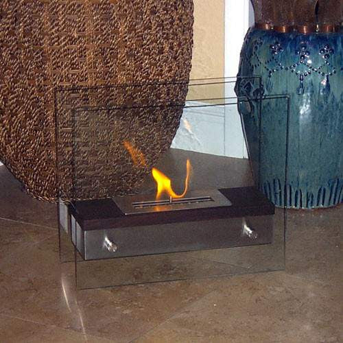 Buy Foreste Ardore Tabletop Dark Walnut Wood Finish Fireplace| FREE Shipping