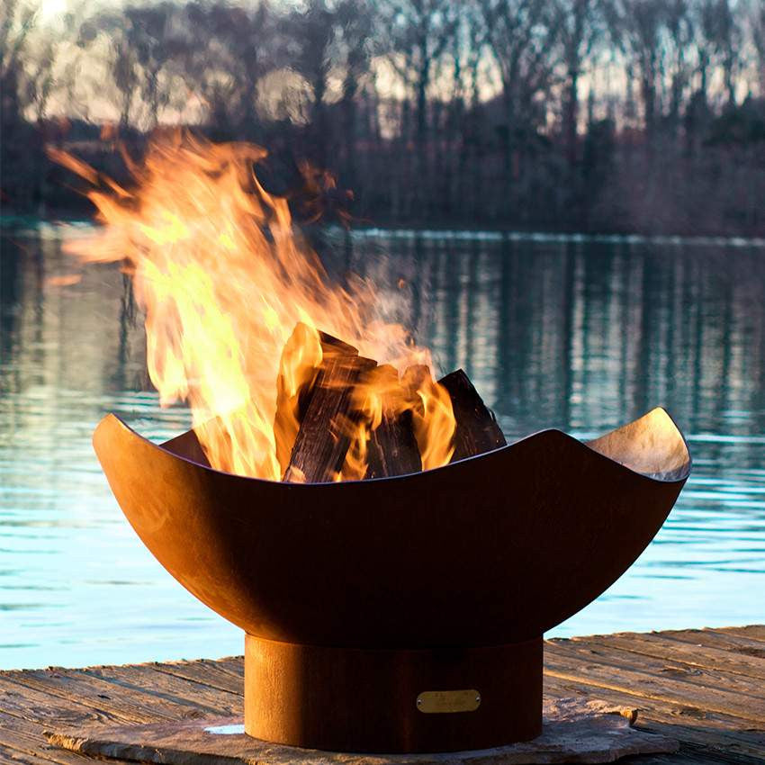 Manta Ray Wood & Gas Burning Fire Pit - Home Fire Designs
