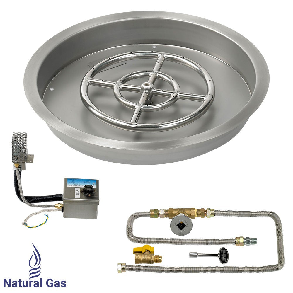 "Round Drop-In Pan with S.I.T. System (12"" Fire Pit Ring) - Natural Gas - Home Fire Designs"