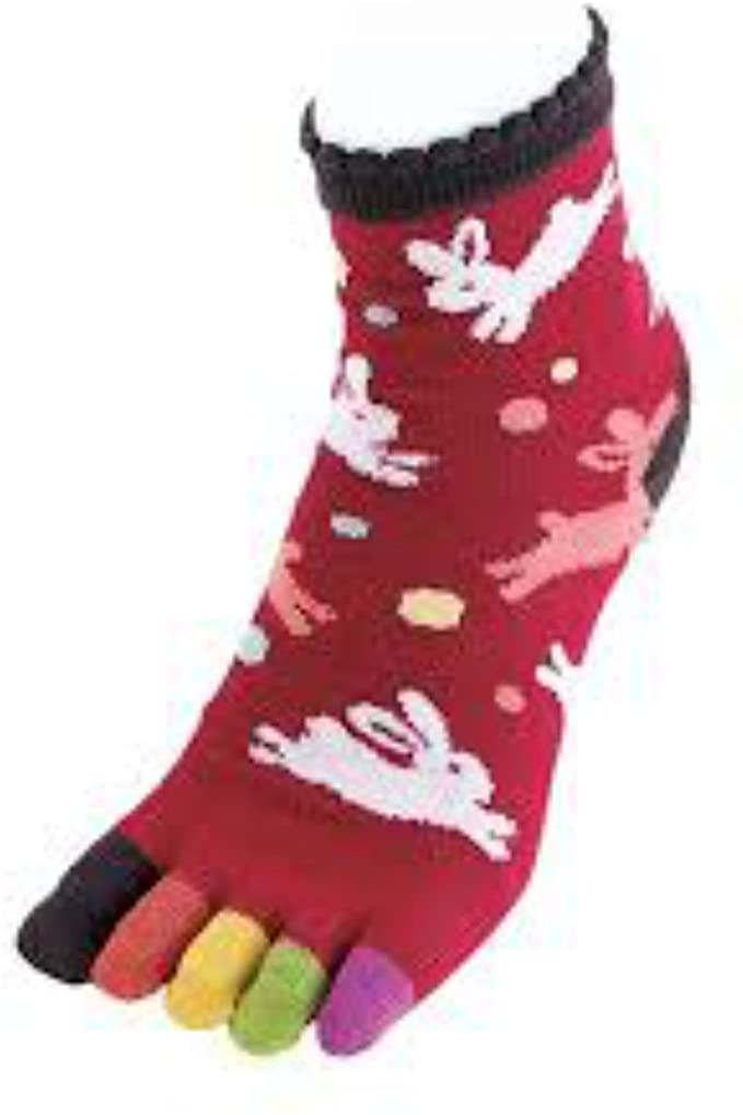 Kurochiku 5-Toe Colorful Socks Rabbits - Red/Multicolor OUTLET SALE EU