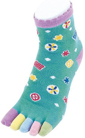 Kurochiku 5-Toe Colorful Socks Japanese Sweets - Green/Multicolor OUTLET SALE EU