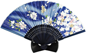 Silk Hand Fan Blue Sakura 504-546 OUTLET SALE EU