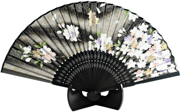 Silk Hand Fan Black Sakura 504-547 OUTLET SALE EU