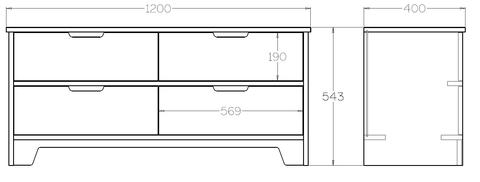 Low Storage drawers dimensions