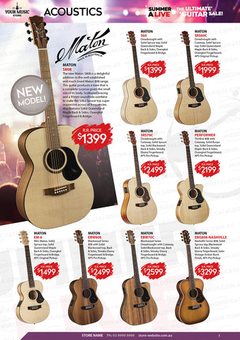 Maton Acoustic Guitars with RRP's