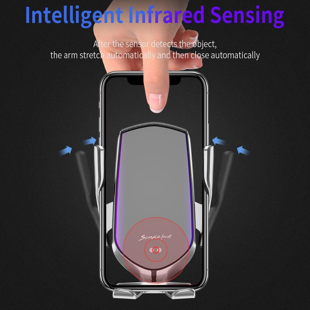 Wireless Charger Infrared Sensor 10W Qi Fast Charging Phone Holder For iPhone