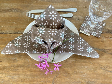 Star Jasmine Table Napkin and Drink Coaster Set
