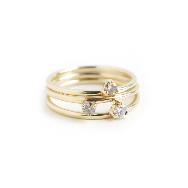 Trio of Three Claw Mini Diamond Rings in Yellow Gold