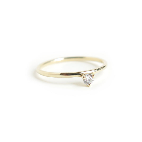 Three Claw Mini White Diamond Ring in Yellow Gold