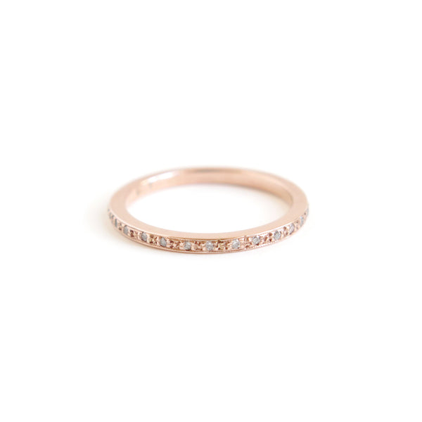 Pave Set Half Eternity Band in Rose Gold