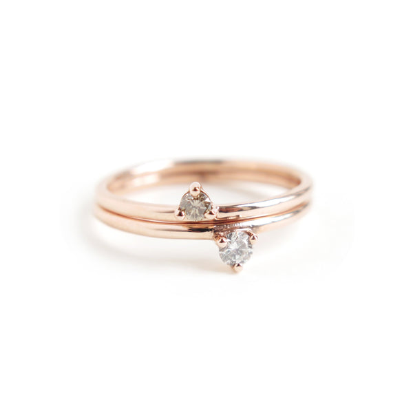 Duo of Three Claw Mini Diamond Rings in Rose Gold