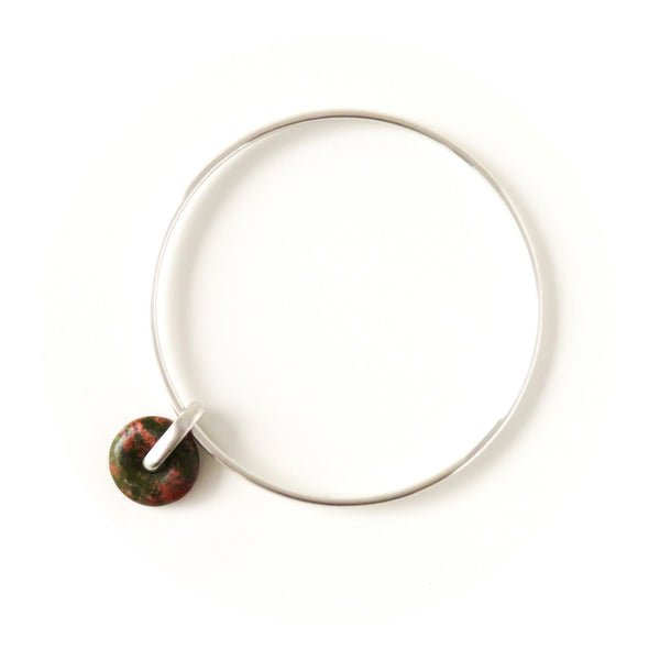The Halo Bangle in Silver with Unakite
