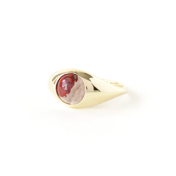 The Iris Ring in Yellow Gold with Brecciated Jasper