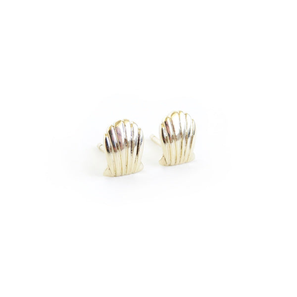 Shell Stud Earrings in Yellow Gold