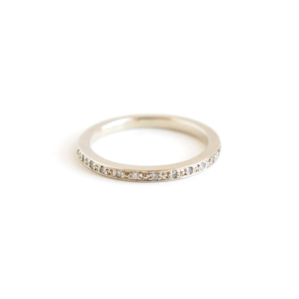 Pave Set Half Eternity Band in White Gold