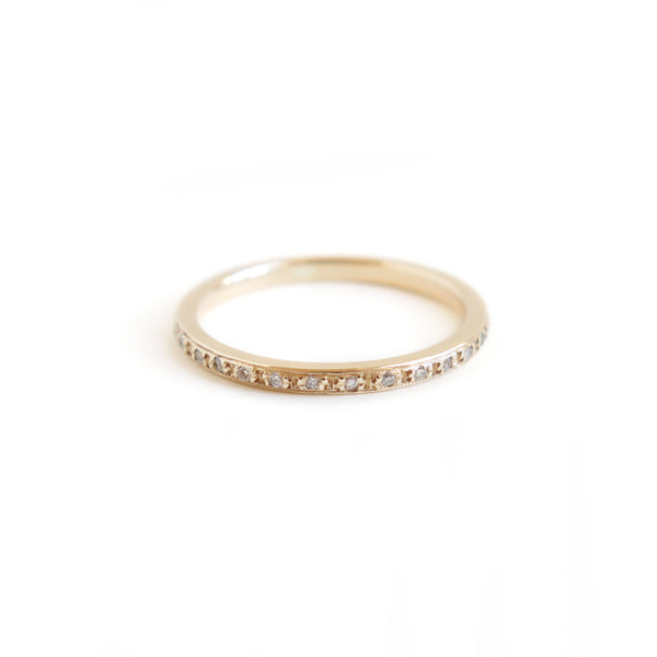 Pave Set Half Eternity Band in Yellow Gold