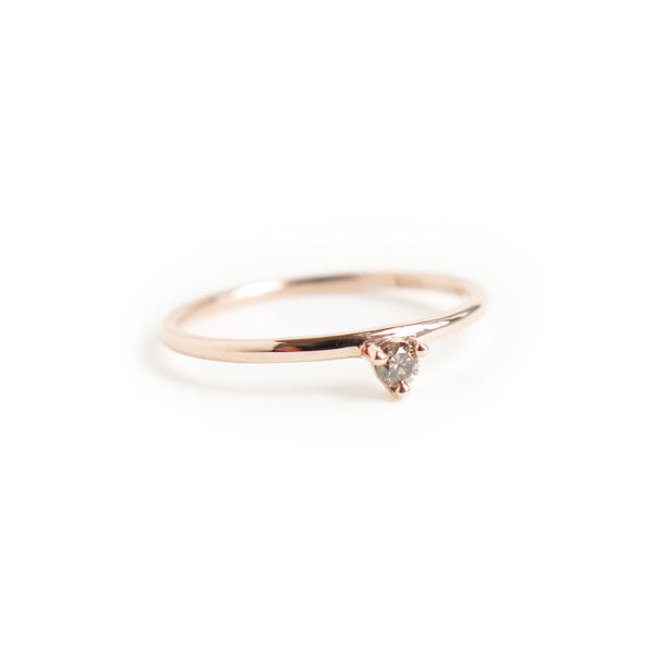 Three Claw Mini White Diamond Ring in Rose Gold
