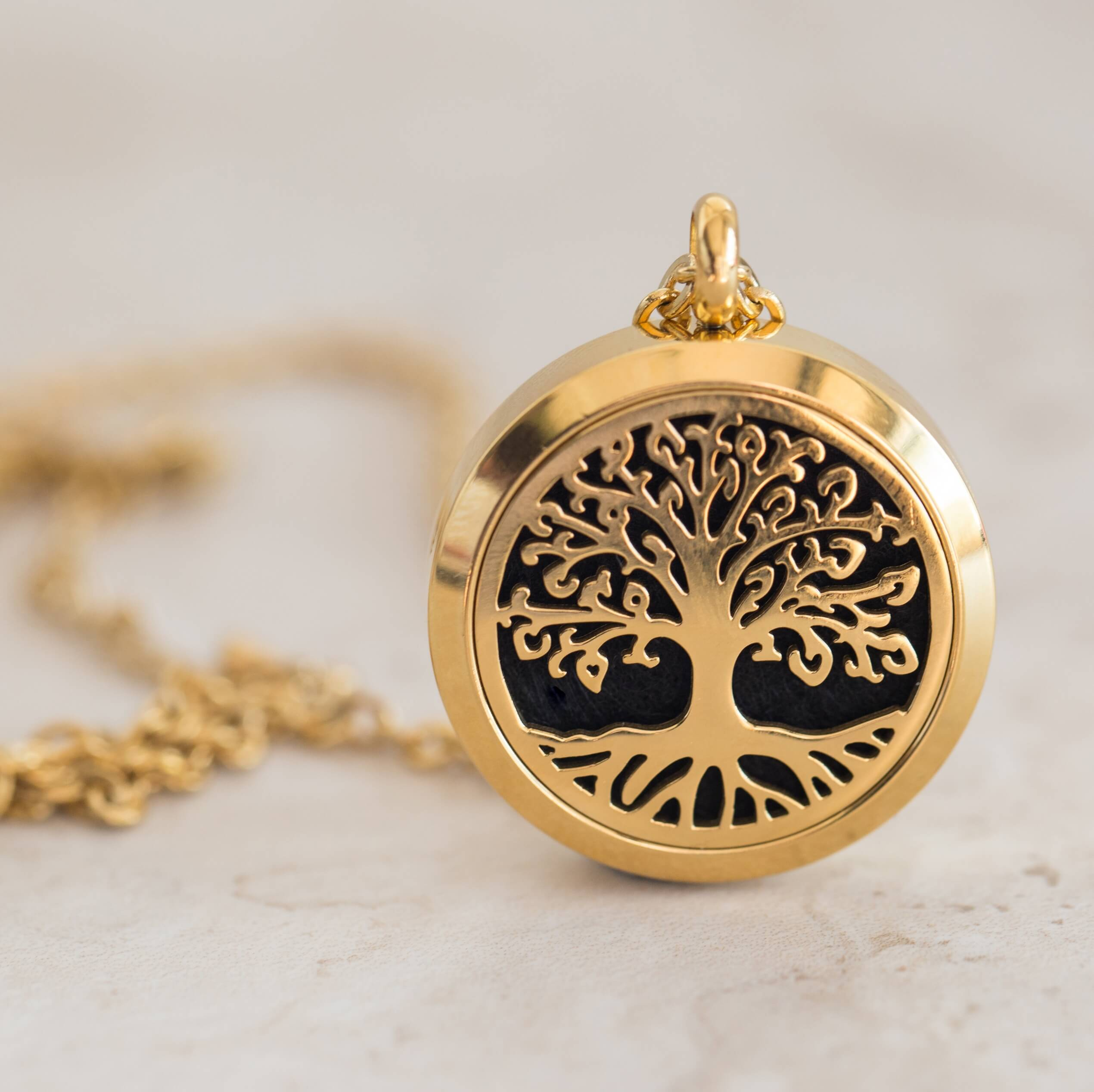 Essential oil diffuser necklace, aromatherapy locket yellow gold tree of life
