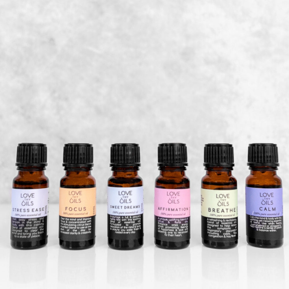 100% Pure essential oils.  Pack of 6 essential oil blends.
