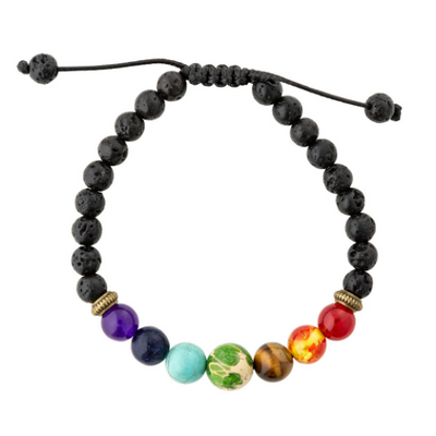 7 chakra essential oil diffuser bracelet.  Aromatherapy jewellery for kids adjustable lava stone diffusing bracelet