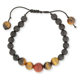 Tigers Eye & Lava stone adjustable diffusing bracelet