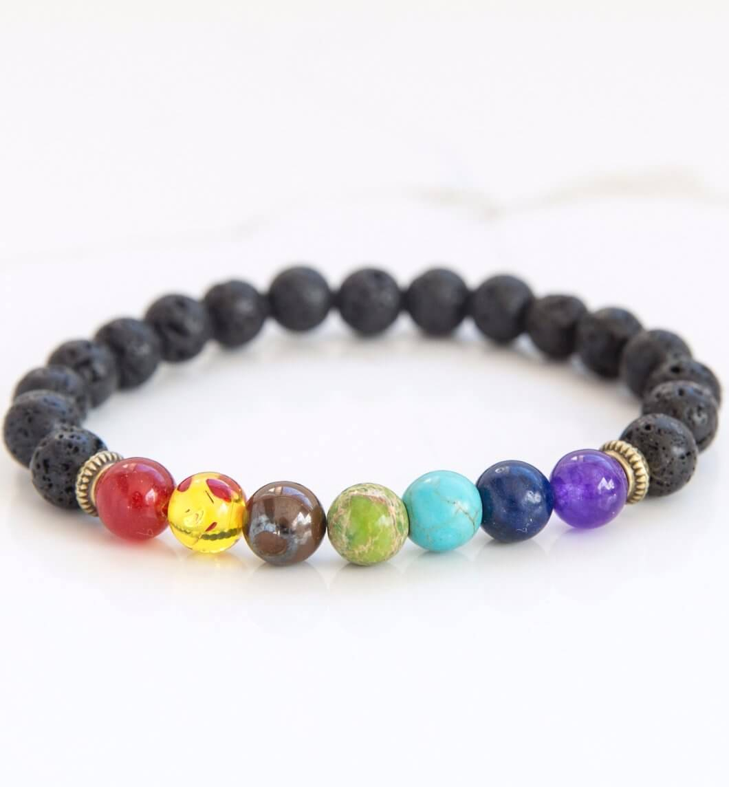 7 chakra essential oil diffuser bracelet.  Aromatherapy jewellery.
