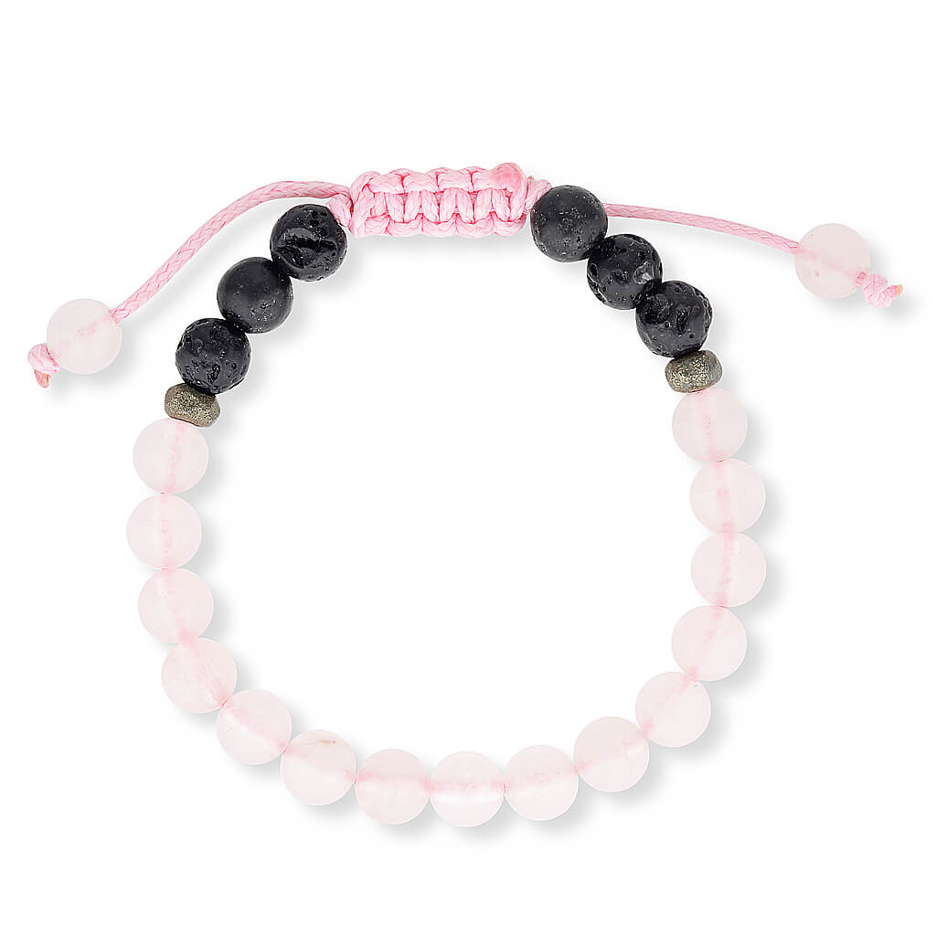 rose quartz and lava stone essential oil diffuser bracelet.  Aromatherapy jewellery for kids