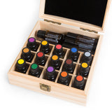 Wooden essential oil storage box.  Holds 25 bottles.
