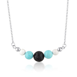 Howlite & Turquoise essential oil diffuser necklace
