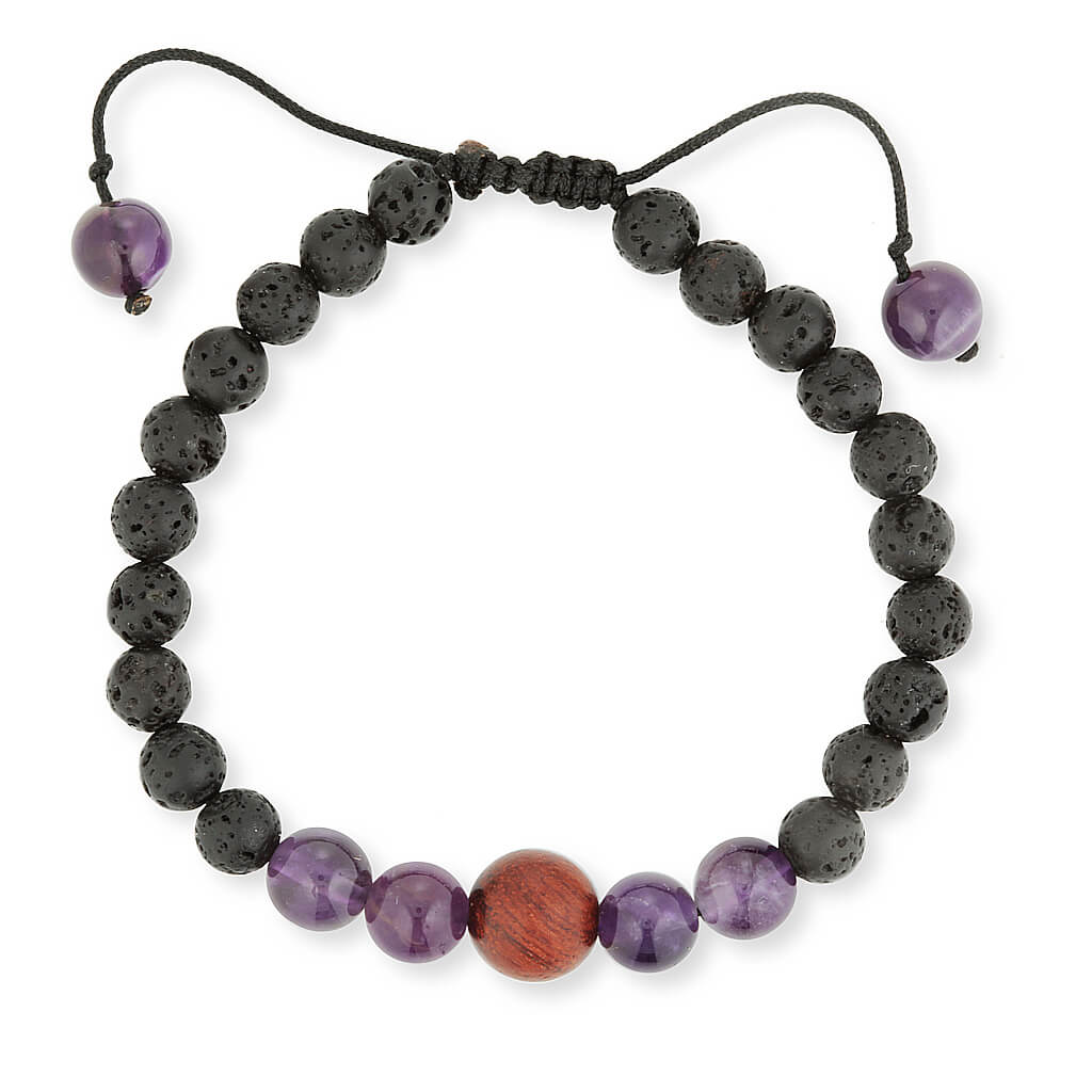 Amethyst and lava stone essential oil diffusing bracelet.  aromatherapy jewellery