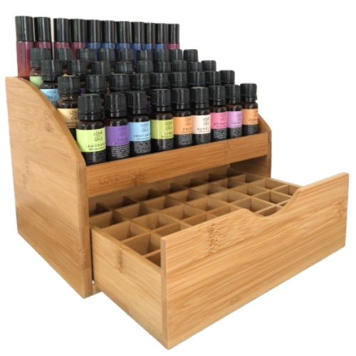 Bamboo essential oil storage box and display rack for aromatherapy oils